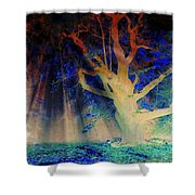Negative Tree And Sunbeams Shower Curtain