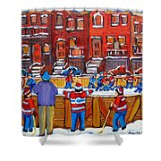 Neighborhood  Hockey Rink Shower Curtain