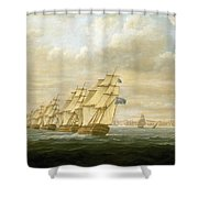 Nelson's Inshore Blockading Squadron At Cadiz, July 1797 Shower Curtain