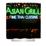 Neon Asian Grille Shower Curtain