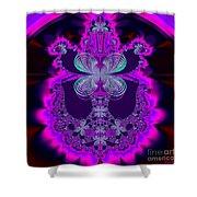 Neon Butterflies And Rainbow Fractal 137 Shower Curtain