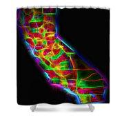 Neon California State Map Shower Curtain