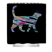Neon Cat Cool Shower Curtain