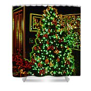 Neon Christmas Tree Shower Curtain