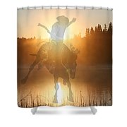 Neon Cowboy Shower Curtain