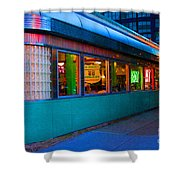 Neon Diner Shower Curtain by Crystal Nederman