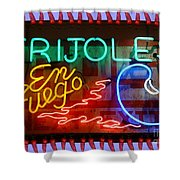 Neon Frijoles And Peppers And Gas Shower Curtain