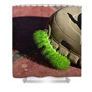 Neon Geen Caterpillar Loves Crocs Shower Curtain