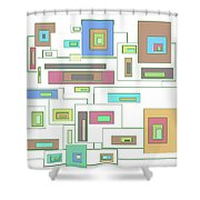 Neon Geometrics 2 Shower Curtain