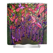 Neon Night In Bloom Shower Curtain