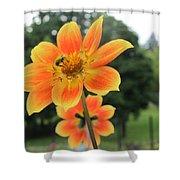 Neon Orange Flower Shower Curtain