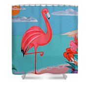 Neon Island Flamingo Shower Curtain