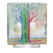 Neon Rainbow Tree By Jrr Shower Curtain