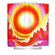 Neon Red Sky And Sea Shower Curtain