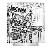 Neon Sign On Bourbon Street Corner French Quarter New Orleans Black And White Photocopy Digital Art Shower Curtain
