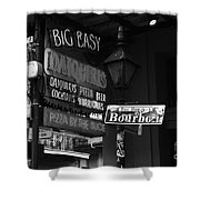 Neon Sign On Bourbon Street Corner French Quarter New Orleans Black And White Shower Curtain