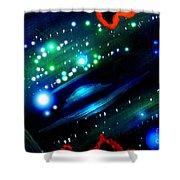 Neon Stars, Green Galaxy And Ufo Shower Curtain