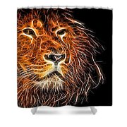 Neon Strong Proud Lion On Black Shower Curtain