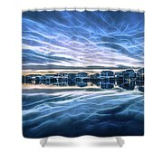 Neon Sunset Shower Curtain