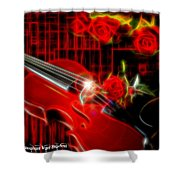 Neons Violin With Roses Shower Curtain