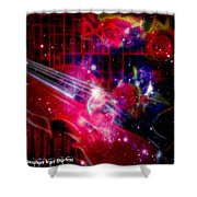 Neons Violin With Roses With Space Effect Shower Curtain