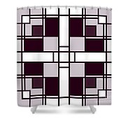 Neoplasticism Symmetrical Pattern In Pinkish Gray Shower Curtain