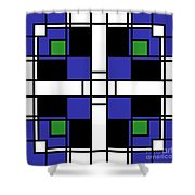 Neoplasticism Symmetrical Pattern In Sapphire Blue Shower Curtain