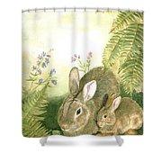 Nesting Bunnies Shower Curtain