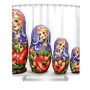 Nesting Doll Poppies Shower Curtain