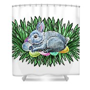 Nesting Easter Bunny Shower Curtain