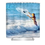 Net Fishing The Sea Shower Curtain