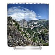 Nevada And Vernal Falls From Near Grizzly Peak - Yosemite Valley Shower Curtain