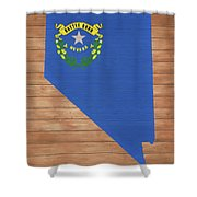 Nevada Rustic Map On Wood Shower Curtain