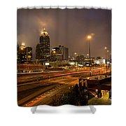 Never Sleeping Atlanta In Motion Midtown Light Trails Art Shower Curtain