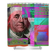 New 2009 Series Pop Art Colorized Us One Hundred Dollar Bill  No. 3 Shower Curtain