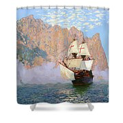 New Albion. Sir Francis Drakes Ship Shower Curtain