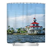 New Canal Lighthouse And Lakefront - Nola Shower Curtain