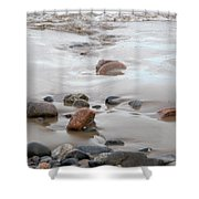 New England Beach With Rocks And Waves Shower Curtain