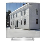 New England Colonial Home In Winter Shower Curtain