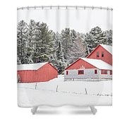 New England Farm With Red Barns In Winter Shower Curtain