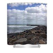 New England Jetty Shower Curtain by Barbara Von Pagel