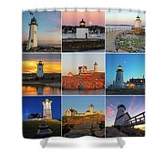 New England Lighthouse Collage Shower Curtain