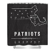 New England Patriots Art - Nfl Football Wall Print Shower Curtain by Damon Gray