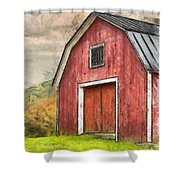 New England Red Barn Pencil Shower Curtain