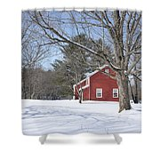 New England Red House Winter Shower Curtain