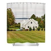 New England Traditional House In The Fall Shower Curtain