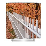New England White Picket Fence With Fall Foliage Shower Curtain
