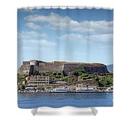 new fortress and port Corfu town Greece Shower Curtain