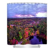 New Hampshire Fall Sunset Over Pond Shower Curtain