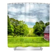 New Hampshire Landscape Red Barn Etna Shower Curtain